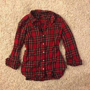 Gap factory red plaid flannel